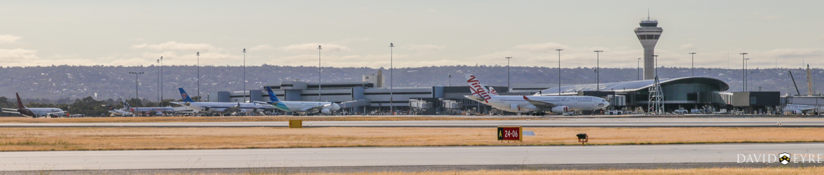 Aircraft at Terminal 1, Perth Airport - 2 November 2017. (Left to right) at 7:31am: PK-LBO Boeing 737-9GPER (MSN 38731/4463) of Batik Air Indonesia; VH-QQR Fokker 70 (MSN 11564) of Alliance Airlines; 9V-JSJ Airbus A320-232 (MSN 4515) of Jetstar Asia; B-8426 Airbus A330-323X (MSN 1760) of China Southern Airlines; PK-GPU Airbus A330-343X (MSN 1560) of Garuda Indonesia; and VH-XFD Airbus A330-243 (MSN 1306) named 'Bells Beach'. of Virgin Australia. Photo © David Eyre