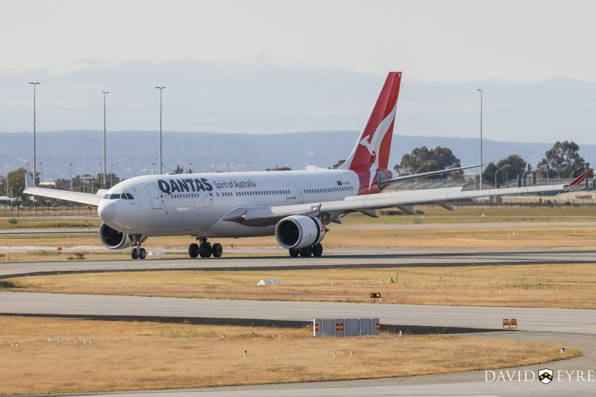 VH-EBD Airbus A330-202 (MSN 513) of Qantas, named 'Traralgon', at Perth Airport - 2 November 2017. Flight QF565 from Sydney, landing on runway 03 at 8:08am. Photo © David Eyre