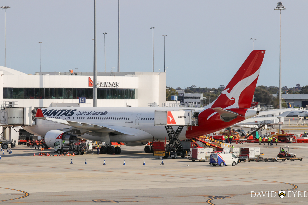 VH-EBD Airbus A330-202 (MSN 513) of Qantas, named 'Traralgon', at Perth Airport - 2 November 2017. Parked at Bay 15, Terminal 4 at 8:27am, being prepared for departure as flight QF642 to Sydney, which took off at 9:28am. Photo © David Eyre