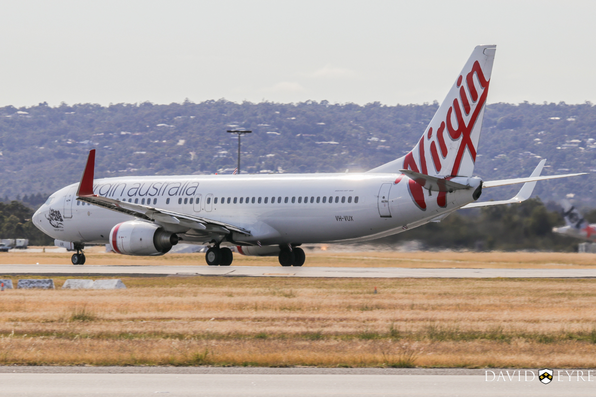 VH-VUX Boeing 737-8FE (cn 37823/3415) of Virgin Australia, named 'Nightcliff Beach', at Perth Airport - 2 November 2017. Flight VA1433 to Darwin, taking off from runway 06 at 8:29am. Photo © David Eyre