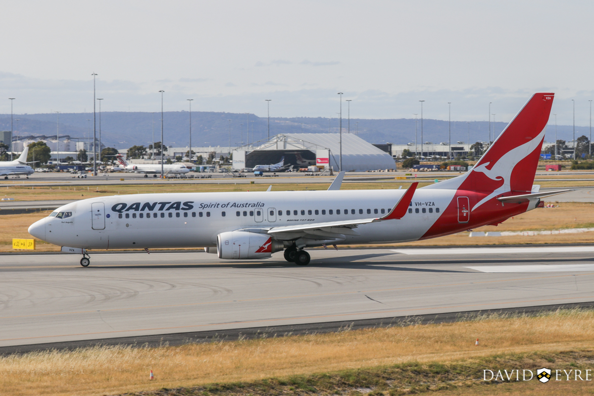 VH-VZA Boeing 737-838 (MSN 34195/2502) of Qantas, named 'Port Augusta', at Perth Airport - 2 November 2017. Taking off from runway 06 at 8:11am as flight QF668 to Adelaide. Photo © David Eyre.