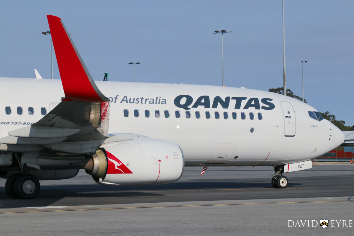 VH-VZT Boeing 737-838 (MSN 34186/3798) of Qantas, named 'Kalgoorlie', at Perth Airport - 2 November 2017. Taxying in on taxiway J1 at 7:32am as QF593 from Adelaide. Photo © David Eyre