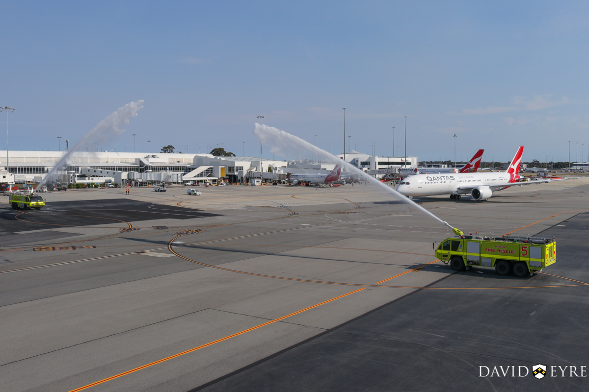 VH-ZNA Boeing 787-9 Dreamliner (MSN 39038/615) of Qantas, named 'Great Southern Land', at Perth Airport - 2 November 2017. First visit to Perth - taxying out to runway 03 at 8:21am as QF762 to Melbourne, and receiving a water cannon salute from the airport fire crews. Photo © David Eyre