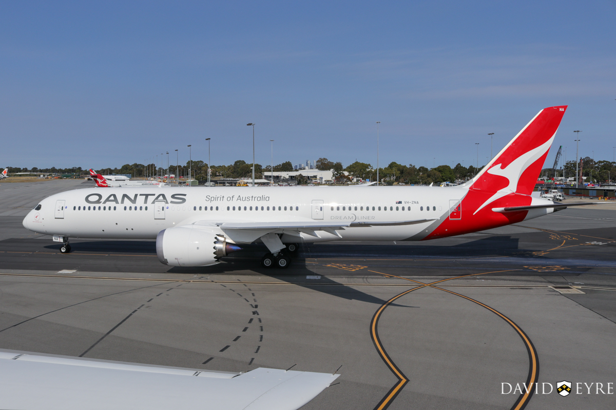 VH-ZNA Boeing 787-9 Dreamliner (MSN 39038/615) of Qantas, named 'Great Southern Land', at Perth Airport - 2 November 2017. First visit to Perth - taxying out to runway 03 at 8:21am as QF762 to Melbourne, after receiving a water cannon salute from the airport fire crews. Photo © David Eyre