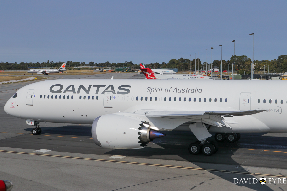 VH-ZNA Boeing 787-9 Dreamliner (MSN 39038/615) of Qantas, named 'Great Southern Land', at Perth Airport - 2 November 2017. First visit to Perth - taxying out to runway 03 at 8:22am as QF762 to Melbourne, after receiving a water cannon salute from the airport fire crews. Photo © David Eyre