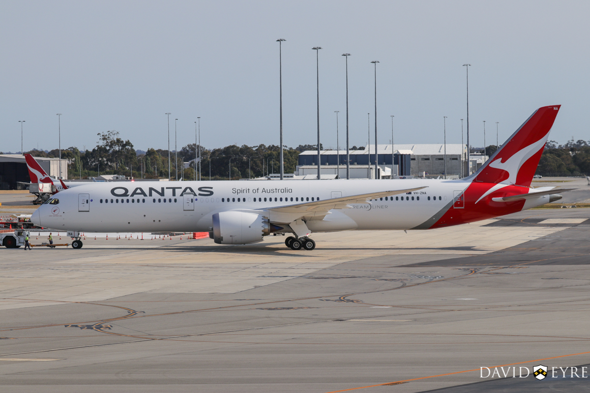 VH-ZNA Boeing 787-9 Dreamliner (MSN 39038/615) of Qantas, named 'Great Southern Land', at Perth Airport - 2 November 2017. First visit to Perth - it arrived the previous evening as flight QF481 from Melbourne and stayed on Bay 14 overnight for Qantas staff training and familiarisation. Seen here during pushback and engine start at 8:14am as QF762 to Melbourne. It received a water cannon salute as it taxied out. It circled Perth at around 2,000 feet after take-off before continuing to Melbourne. Photo © David Eyre
