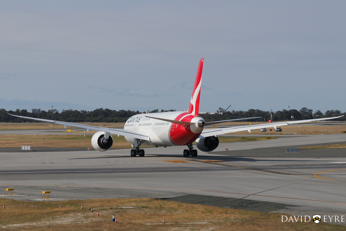 VH-ZNA Boeing 787-9 Dreamliner (MSN 39038/615) of Qantas, named 'Great Southern Land', at Perth Airport - 2 November 2017. First visit to Perth - taxying out to runway 03 at 8:23am as QF762 to Melbourne, after receiving a water cannon salute from the airport fire crews. Photo © David Eyre