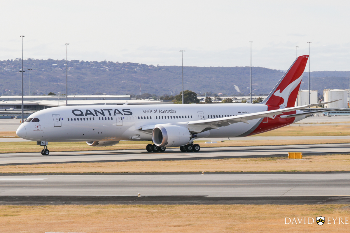 VH-ZNA Boeing 787-9 Dreamliner (MSN 39038/615) of Qantas, named 'Great Southern Land', at Perth Airport - 2 November 2017. First visit to Perth - taking off from runway 03 at 8:27am as QF762 to Melbourne. Photo © David Eyre