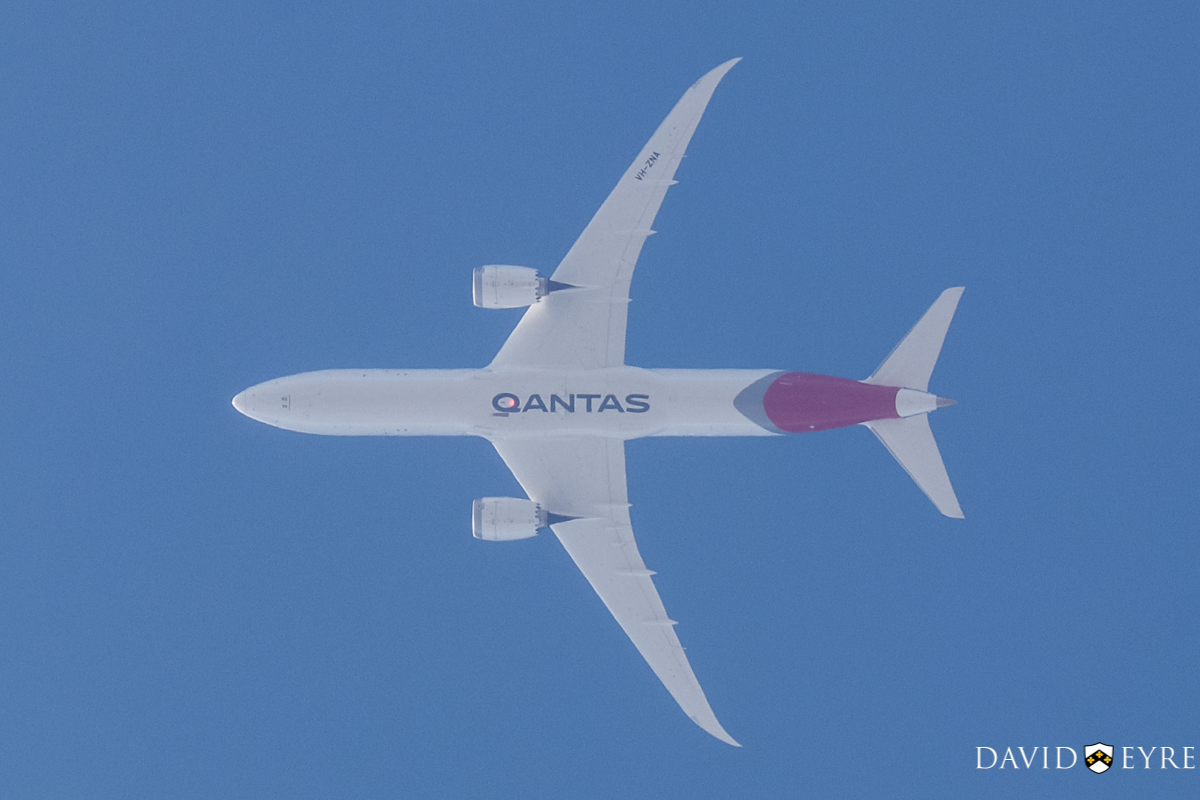 VH-ZNA Boeing 787-9 Dreamliner (MSN 39038/615) of Qantas, named 'Great Southern Land', over Perth city - 2 November 2017. First visit to Perth. After take-off the aircraft performed a flypast at 2,000 feet over Perth city at 8:37am. After the flypast, the aircraft flew directly over Perth Airport VOR antenna at a height of 14,000 feet (4.2 kilometres) at 8:42am as seen here, before continuing on its way to Melbourne as flight QF762. Photo © David Eyre