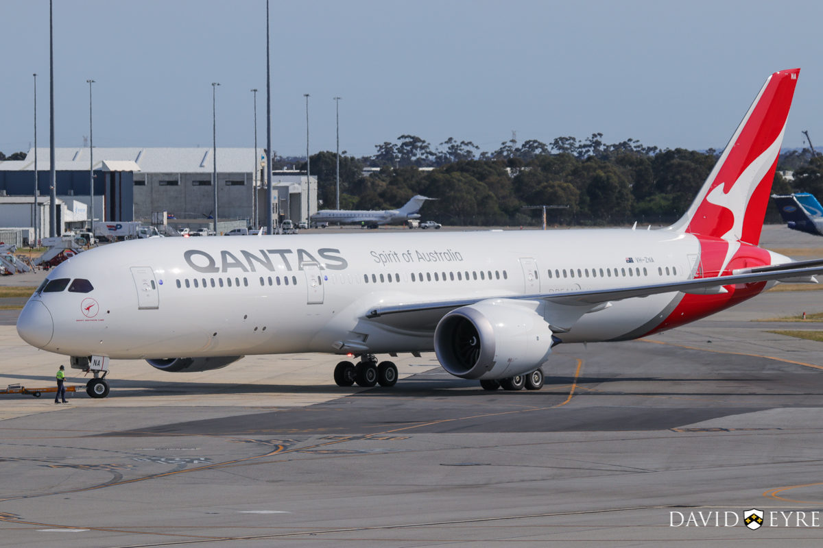 VH-ZNA Boeing 787-9 Dreamliner (MSN 39038/615) of Qantas, named 'Great Southern Land', at Perth Airport - 2 November 2017. First visit to Perth - it arrived the previous evening as flight QF481 from Melbourne and stayed on Bay 14 overnight for Qantas staff training and familiarisation. Seen here during pushback and engine start at 8:15am as QF762 to Melbourne. It received a water cannon salute as it taxied out. It circled Perth at around 2,000 feet after take-off before continuing to Melbourne. Photo © David Eyre