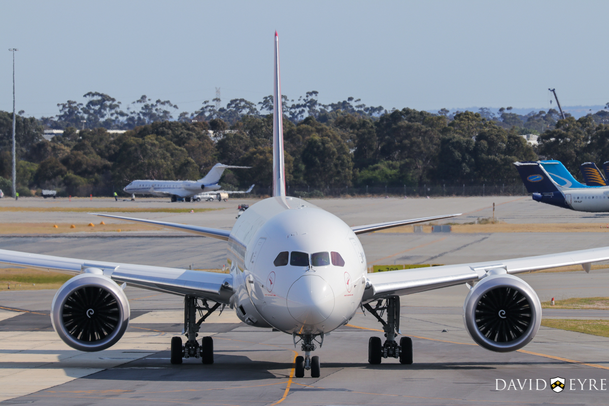 VH-ZNA Boeing 787-9 Dreamliner (MSN 39038/615) of Qantas, named 'Great Southern Land', at Perth Airport - 2 November 2017. First visit to Perth - it arrived the previous evening as flight QF481 from Melbourne and stayed on Bay 14 overnight for Qantas staff training and familiarisation. Seen here after pushback for engine start at 8:18am as QF762 to Melbourne. It received a water cannon salute as it taxied out. It circled Perth at around 2,000 feet after take-off before continuing to Melbourne. Photo © David Eyre