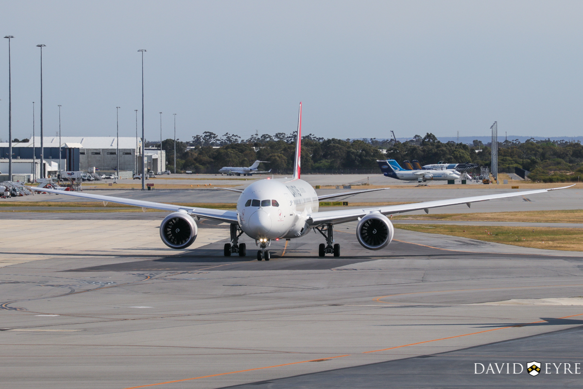 VH-ZNA Boeing 787-9 Dreamliner (MSN 39038/615) of Qantas, named 'Great Southern Land', at Perth Airport - 2 November 2017. First visit to Perth - it arrived the previous evening as flight QF481 from Melbourne and stayed on Bay 14 overnight for Qantas staff training and familiarisation. Seen here taxying out to runway 03 at 8:20am as QF762 to Melbourne. It received a water cannon salute as it taxied out. VH-ZNA circled Perth at around 2,000 feet after take-off before continuing to Melbourne. Photo © David Eyre