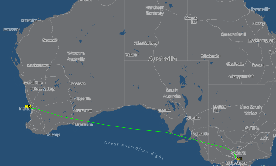 Route flown by VH-ZNA Boeing 787-9 Dreamliner (MSN 39038/615) of Qantas, named 'Great Southern Land', on flight QF762 Perth to Melbourne - its second revenue passenger flight and first visit to Perth - 2 November 2017. Map courtesy of FlightAware.