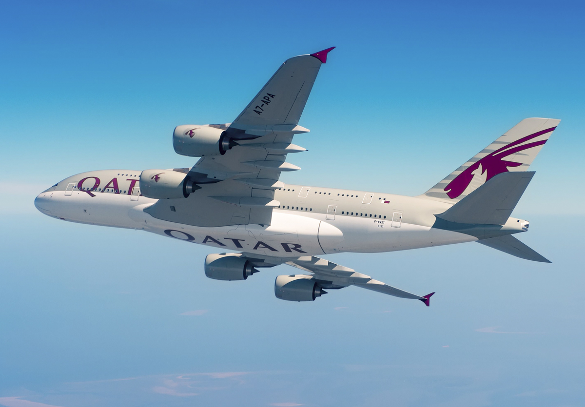 A7-APA Airbus A380-861 (MSN 0137) of Qatar Airways, seen during pre-delivery test flights over Europe in 2014. Photo © Airbus