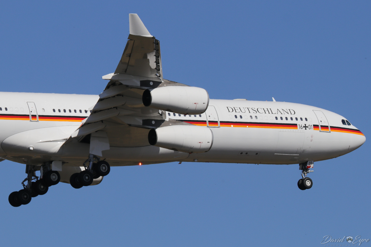 16+01 Airbus A340-313 (MSN 274) of the German Air Force (Luftwaffe) at Perth Airport – 3 November 2017. First visit to Perth. A state visit to Australia by the President of Germany, Dr Frank-Walter Steinmeister, and his wife, Ms Elke Büdenbender, the first visit by a German President to Australia since 2001. Dr Steinmeister and Australian Prime Minister Malcolm Turnbull opened the Australia Germany Asia-Pacific Regional Conference in Perth. 'GAF 921' is seen here on final approach to runway 21 at 3:25pm. The aircraft arrived from Frankfurt, after an overnight stop in Singapore. It departed Perth to Sydney at 10:56am on 4 November 2017. This aircraft was formerly D-AIGR with Lufthansa from 1999-2009 and joined the Luftwaffe in 2011, initially serialled 98+47. Photo © David Eyre