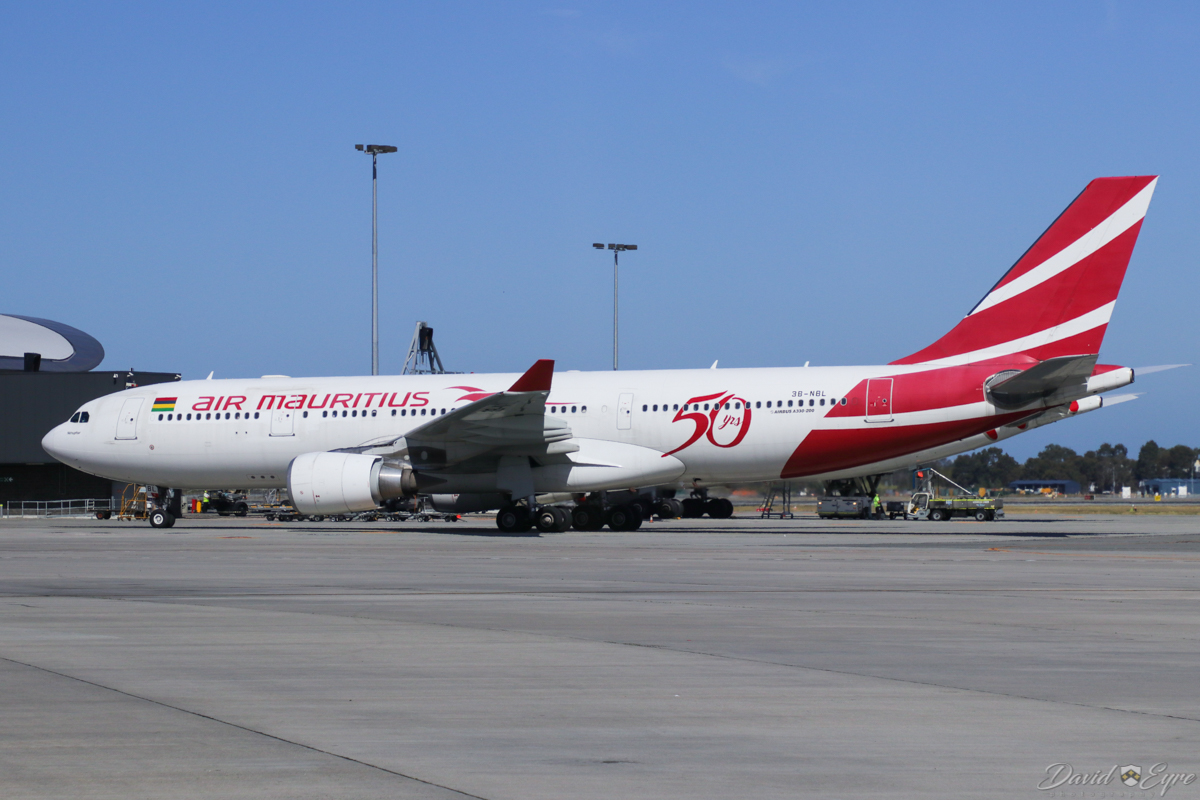 3B-NBL Airbus A330-202 (MSN 1057) of Air Mauritius, named 'Nénuphar', with 50 Years anniversary decals, at Perth Airport – 3 November 2017. Flight MK440 from Mauritius, taxying in to park at bay 150 at 8:45am. Photo © David Eyre