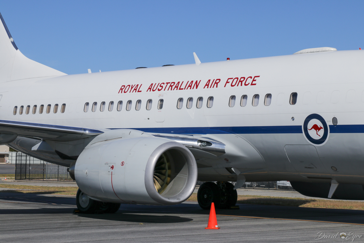 A36-002 Boeing 737-7DT (BBJ) (MSN 30790/613) of 34 Squadron, Royal Australian Air Force (leased from GECAS), based at RAAF Fairbairn, Canberra, at Perth Airport – 3 November 2017. This aircraft brought Australian Prime Minister Malcolm Turnbull to Perth the previous day, to announce a missile defence upgrade for the navy's warships, which would sustain jobs at the Henderson shipyards. He and German President Dr Frank-Walter Steinmeier also opened the Asia-Pacific Regional Conference in Perth, the most significant bilateral conference between Germany and Australia. Photo © David Eyre