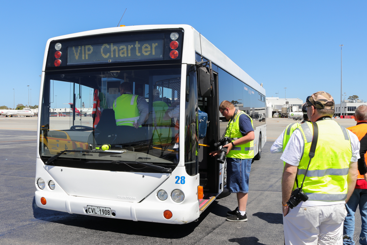 Aviation Association of Western Australia Inc (AAWA) members, boarding the bus after a highly enjoyable and successful airside visit at Perth Airport - 3 November 2017. Photo © David Eyre