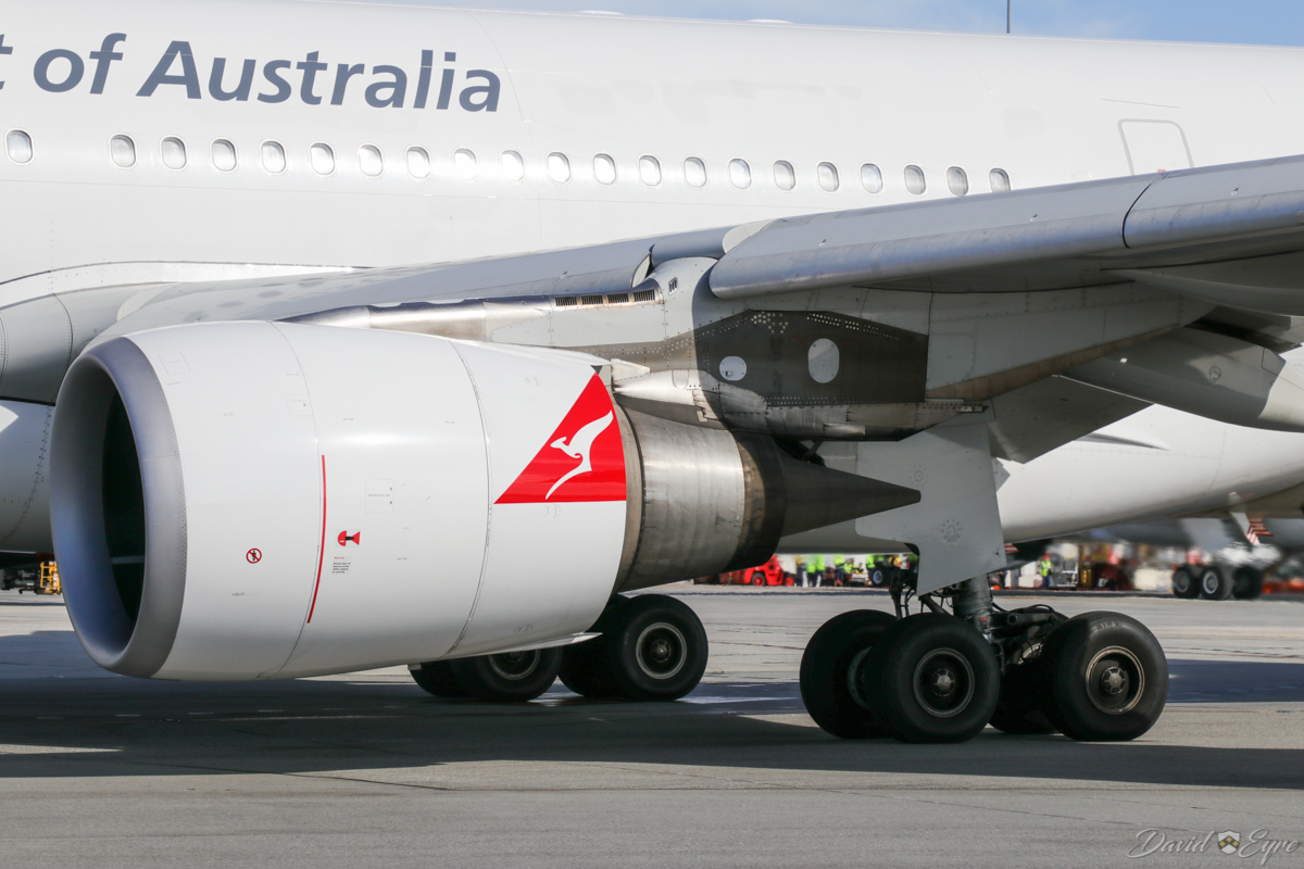 VH-EBD Airbus A330-202 (MSN 513) of Qantas, named 'Traralgon', at Perth Airport - 3 November 2017. Close up of the GE CF6-80E1A4 engine and main landing gear. Flight QF762 to Melbourne, taxying out to runway 03 at 8:10am. Photo © David Eyre