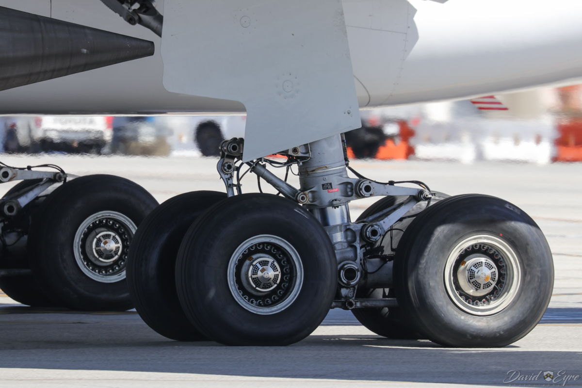 VH-EBJ Airbus A330-202 (MSN 940) of Qantas, named 'Margaret River', at Perth Airport - 3 November 2017. Close-up of the main landing gear. Flight QF642 to Sydney, taxying out to runway 03 at 9:31am. Photo © David Eyre.