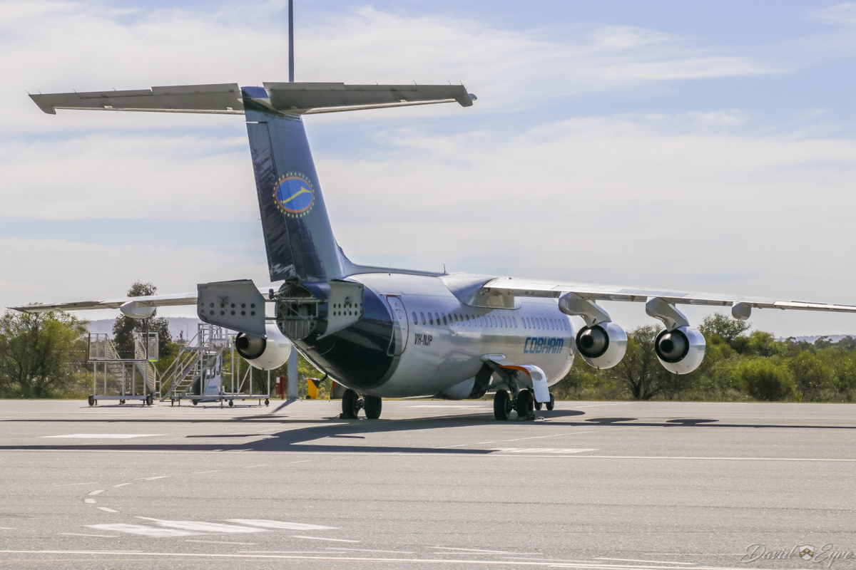 VH-NJP BAE Systems Avro 146-RJ100 (MSN E3354) of Cobham Aviation at Perth Airport - 3 November 2017. Parked near taxiway R. Photo © David Eyre