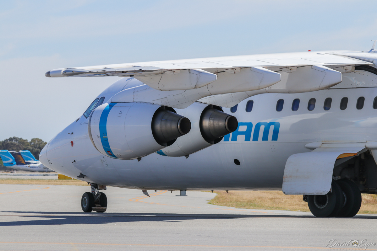 VH-NJW British Aerospace Avro 146-RJ85 (MSN E2329) of Cobham Aviation, named 'Gordy McCullough', at Perth Airport - 3 November 2017. JETEX 955 from Darlot, taxying in at 9:31am, after landing on runway 03. Photo © David Eyre