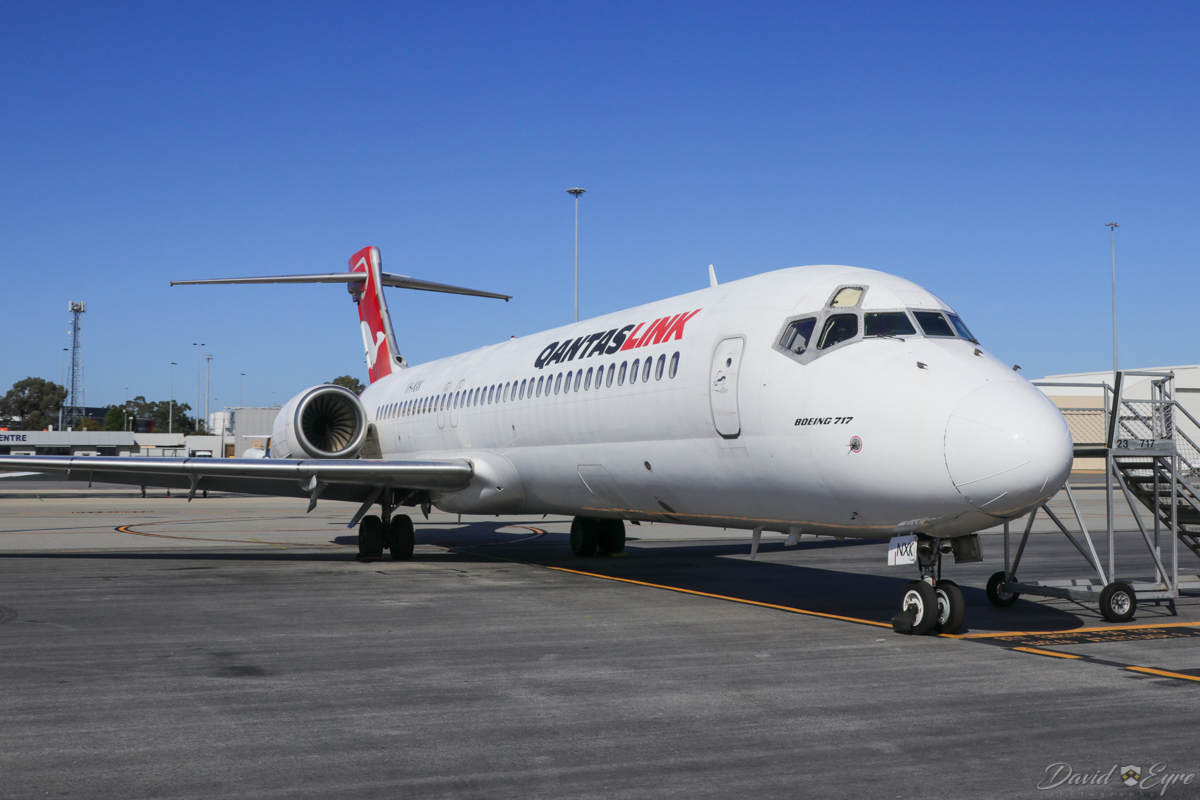 VH-NXK Boeing 717-231 (MSN 55092/5077) of QantasLink, at Perth Airport - 3 November 2017. Parked near the General Aviation area. It departed to Alice Springs just after midday. Photo © David Eyre