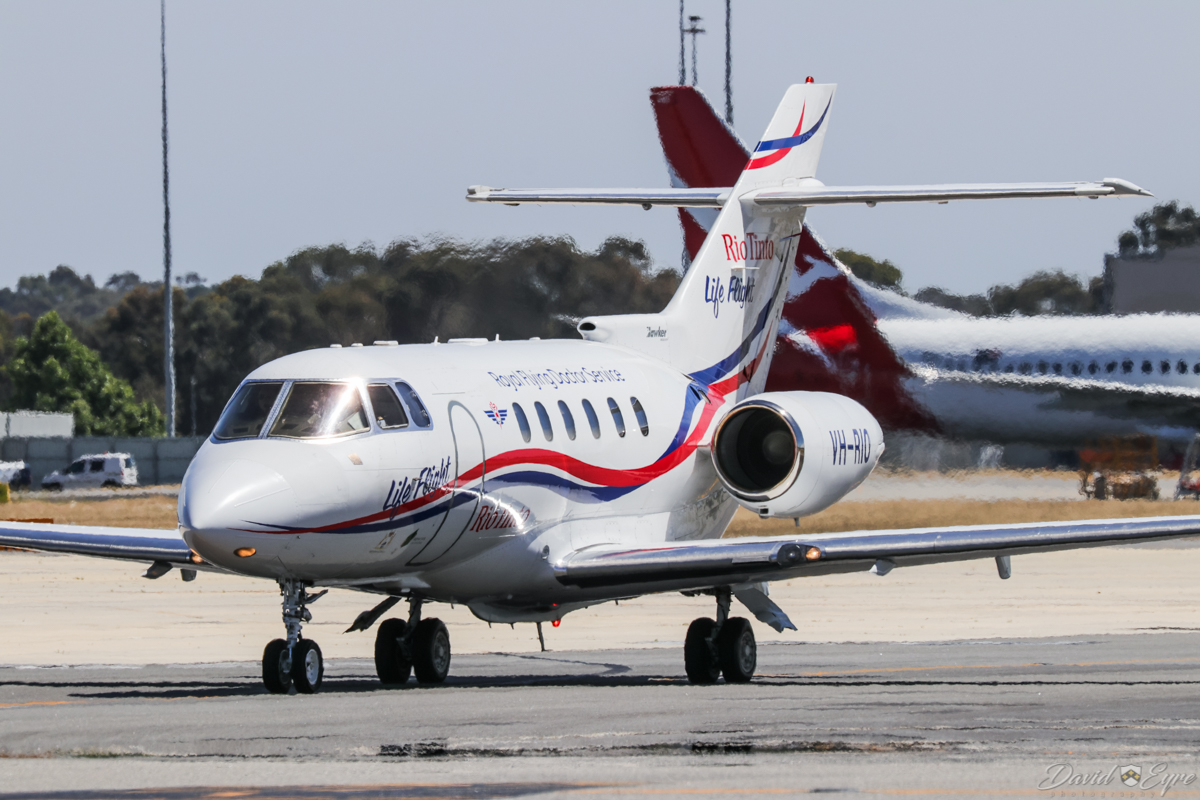 """VH-RIO Hawker 800XP (MSN 258594) of the Royal Flying Doctor Service (RFDS) / """"Rio Tinto Life Flight"""", at Perth Airport – 3 November 2017. Taxying out to runway 03 at 10:13am to depart to RAAF Curtin at Derby, WA. Photo © David Eyre"""