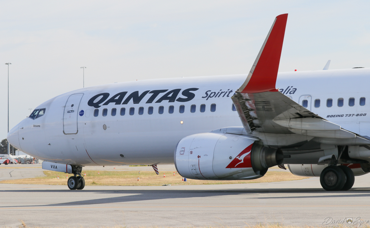 VH-VXA Boeing 737-838 (MSN 29551/1042) of Qantas, named 'Broome', at Perth Airport – 3 November 2017. This was Qantas' first 737-800, which entered service in January 2002. It was originally built for American Airlines as N979AN, but with an industry downturn following the September 11, 2001 terror attacks, they no longer needed the aircraft. The collapse of Ansett Airlines in the same month required Qantas to add capacity rapidly, so it took over American's delivery positions. QF593 from Adelaide, taxying in at 7:51am. Photo © David Eyre