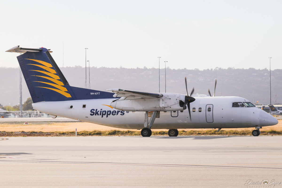 VH-XFT De Havilland Canada DHC-8-102 Dash 8 (MSN 052) of Skippers Aviation, at Perth Airport - 3 November 2017. Taxying out to runway 06 at 6:57am for a FIFO flight to Laverton. Photo © David Eyre