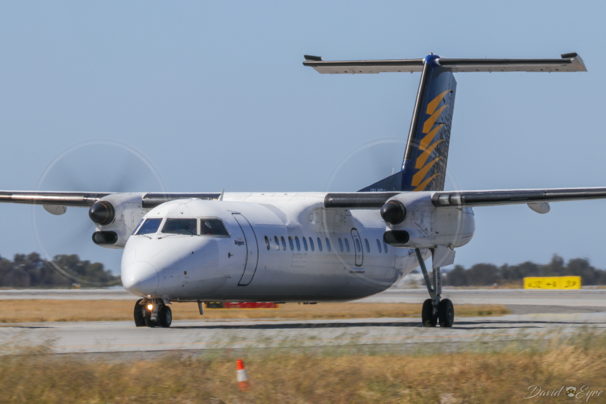 VH-XFV De Havilland Canada DHC-8-314 Dash 8 (MSN 350) of Skippers Aviation, at Perth Airport - 3 November 2017. Taxying in on Taxiway A at 9:51am after arriving from Duketon Gold Mine. Photo © David Eyre