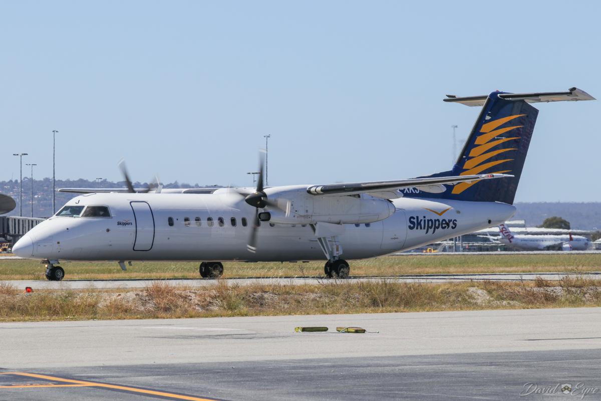VH-XKJ De Havilland Canada DHC-8-315Q Dash 8 (MSN 588) of Skippers Aviation, at Perth Airport – 3 November 2017. Taxying north along taxiway A at 9:56am, arriving back from a FIFO flight to Mount Magnet. Photo © David Eyre