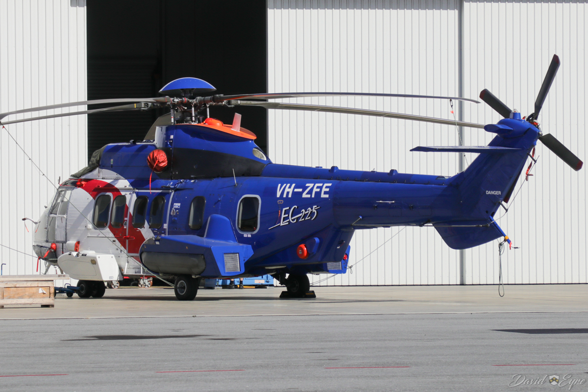 VH-ZFE Eurocopter EC225LP (MSN 2728) of Bristow Helicopters Australia, at Perth Airport - 3 November 2017. Outside the Airflite hangar. Bristow grounded most of its 20-strong EC225 fleet in June 2016, after the crash of a Norwegian Airbus Helicopters H225, except search-and-rescue operations and training flights. The Sikorsky S-92 has replaced most EC225s in Bristow. VH-ZFE seems not to have flown since May 2016. Built in 2009, ex G-CFZY. Photo © David Eyre