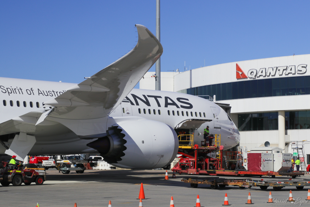 VH-ZNA Boeing 787-9 Dreamliner (MSN 39038/615) of Qantas, named 'Great Southern Land', at Perth Airport - 3 November 2017. Second visit to Perth, operating domestic sectors for crew familiarisation. Parked at Bay 14, Terminal 4 at 8:18am, shortly after arriving as flight QF775 from Melbourne. Photo © David Eyre