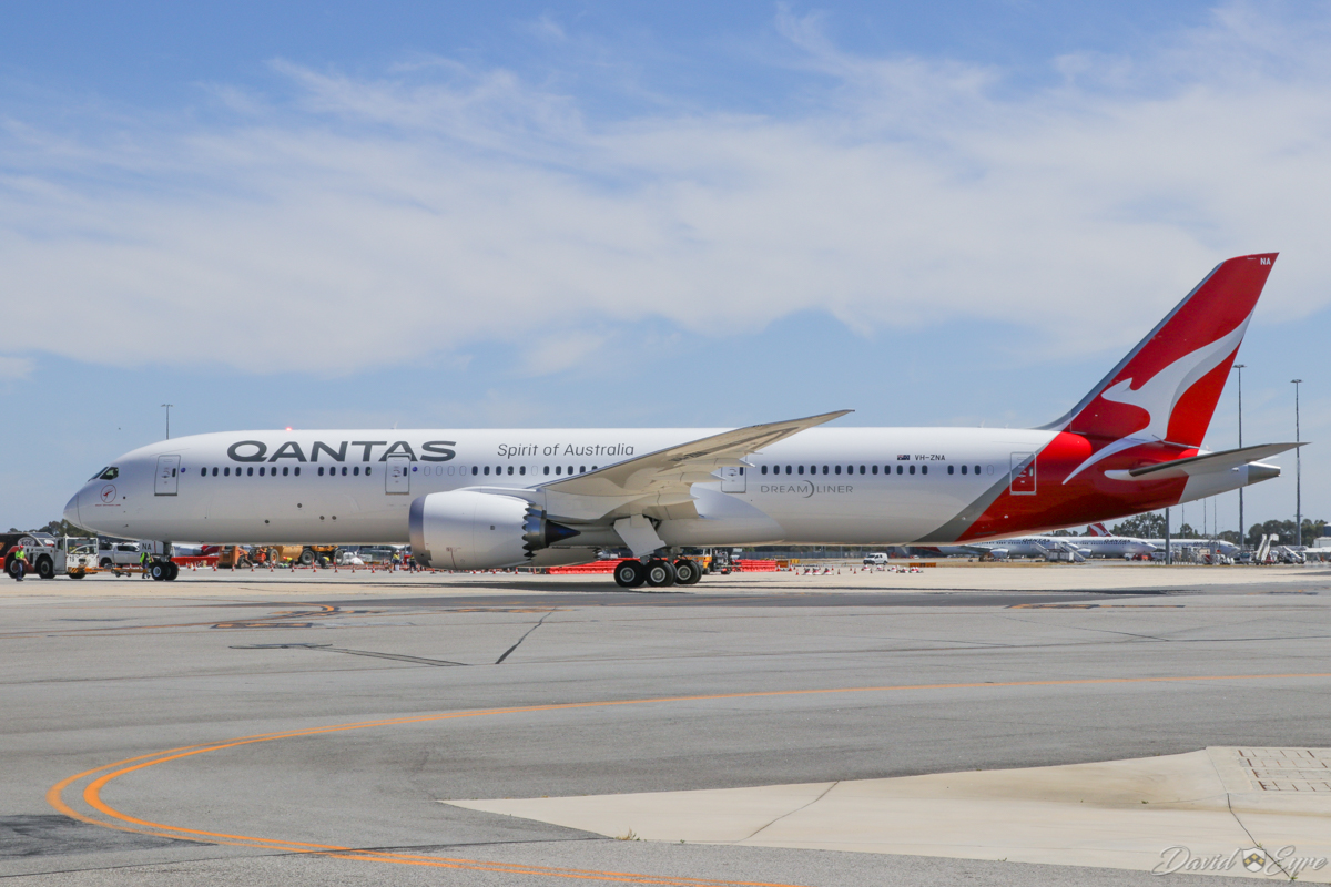VH-ZNA Boeing 787-9 Dreamliner (MSN 39038/615) of Qantas, named 'Great Southern Land', at Perth Airport - 3 November 2017. Second visit to Perth. During pushback from Bay 14 at Terminal 4 for engine start at 10:01am, to depart as flight QF772 to Melbourne. Photo © David Eyre