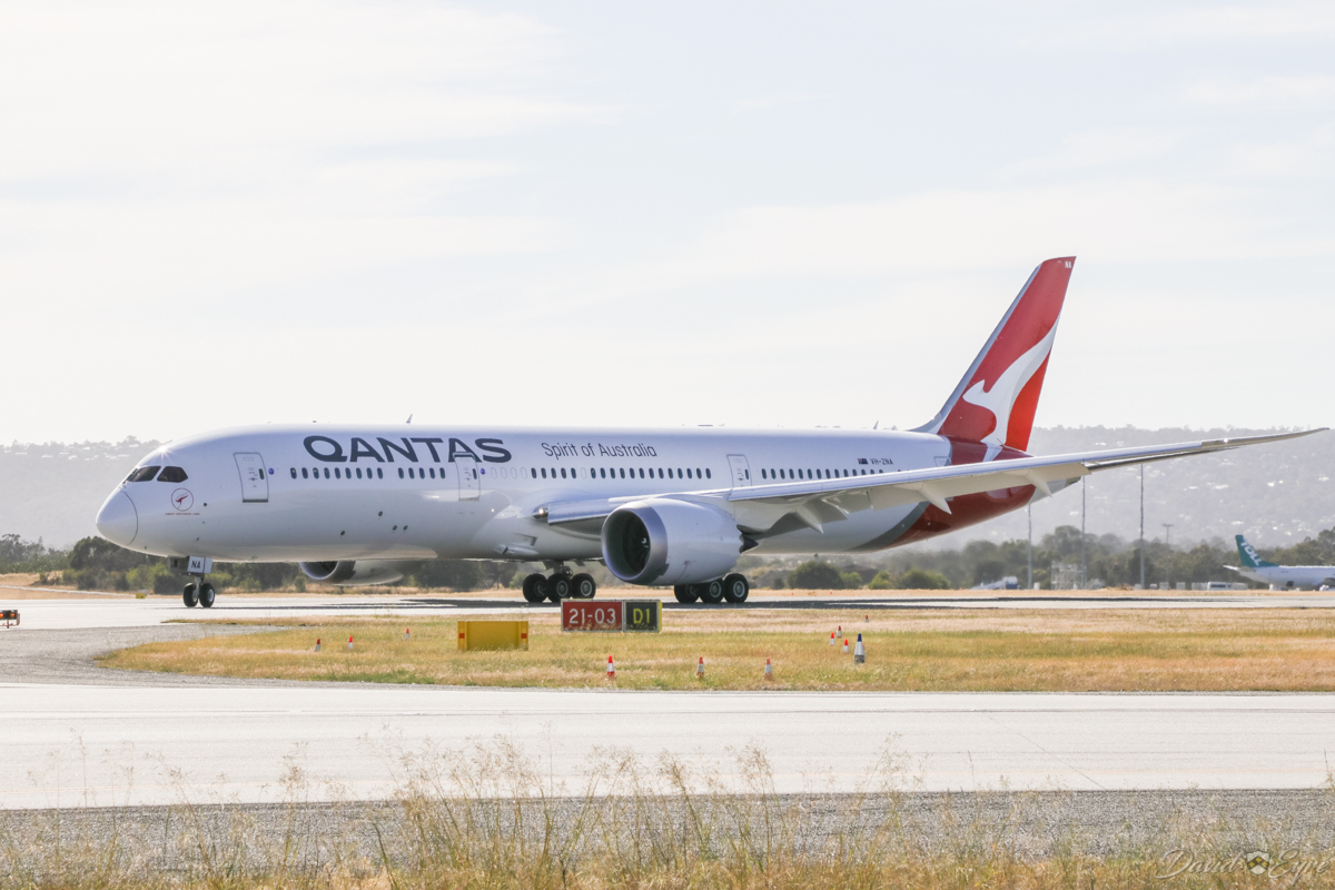 VH-ZNA Boeing 787-9 Dreamliner (MSN 39038/615) of Qantas, named 'Great Southern Land', at Perth Airport - 3 November 2017. Second visit to Perth, operating domestic sectors for crew familiarisation. Flight QF775 from Melbourne, taxying in on taxiway D1 after landing on runway 03 at 8:06am. Photo © David Eyre