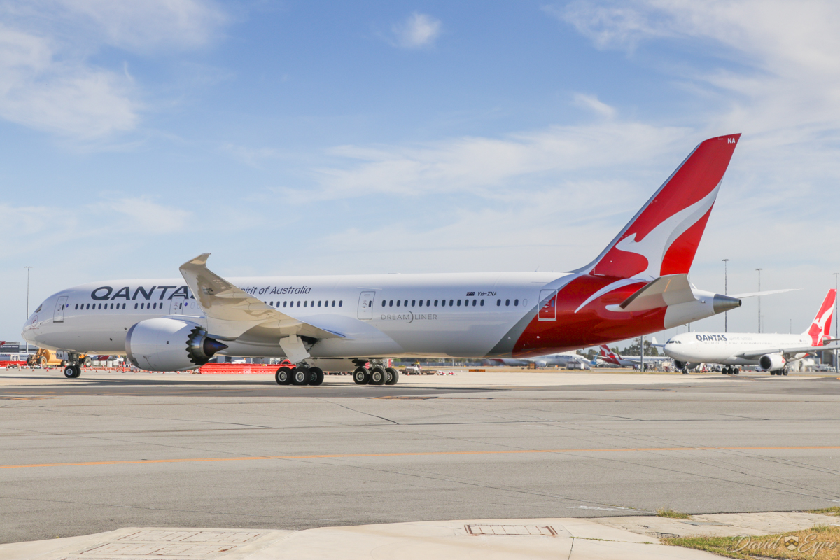VH-ZNA Boeing 787-9 Dreamliner (MSN 39038/615) of Qantas, named 'Great Southern Land', at Perth Airport - 3 November 2017. Second visit to Perth, operating domestic sectors for crew familiarisation. Flight QF775 from Melbourne, taxying in to park at Bay 14, Terminal 4 at 8:08am. Photo © David Eyre