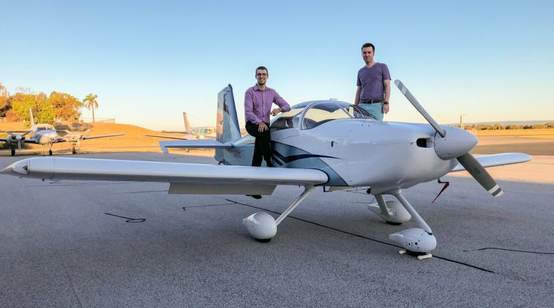 Caleb Duggan and Scott Palmer with the aircraft they will fly in the Outback Air Race 2018, Vans RV7A VH-ZIC, at Jandakot Airport - 7 January 2018. Photo via Scott Palmer.