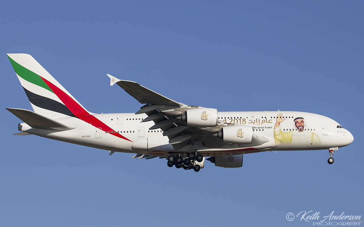 A6-EEU Airbus A-380-861 (MSN 147) of Emirates at Perth Airport – 9 January 2018.