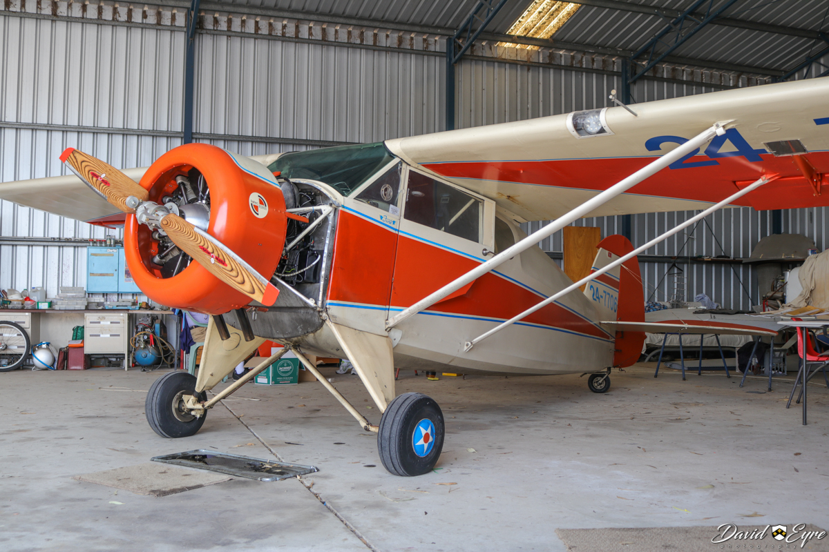 24-7706 Funk B85C (MSN 335), at Serpentine Airfield - 5 November 2017. Photo © David Eyre. Built in 1949, ex N77706. The Funk Model B was designed in the early 1930s by Howard and Joe Funk, whose previous experience was in homebuilt gliders. The prototype first flew in late 1933 and the brothers formed Akron Aircraft Company in 1939 to build the Funk B. In 1941, the company moved from Akron to Kansas and the company was renamed the Funk Aircraft Company. Production was stopped during the Second World War and one aircraft was impressed into service in 1942 with the United States Army Air Corps as the UC-92. After the war in 1946, production resumed using a Continental C85-12 engine and the aircraft was redesignated the Model B-85-C and named the Bee. It did not sell well, so production was halted after 380 aircraft of all variants had been built