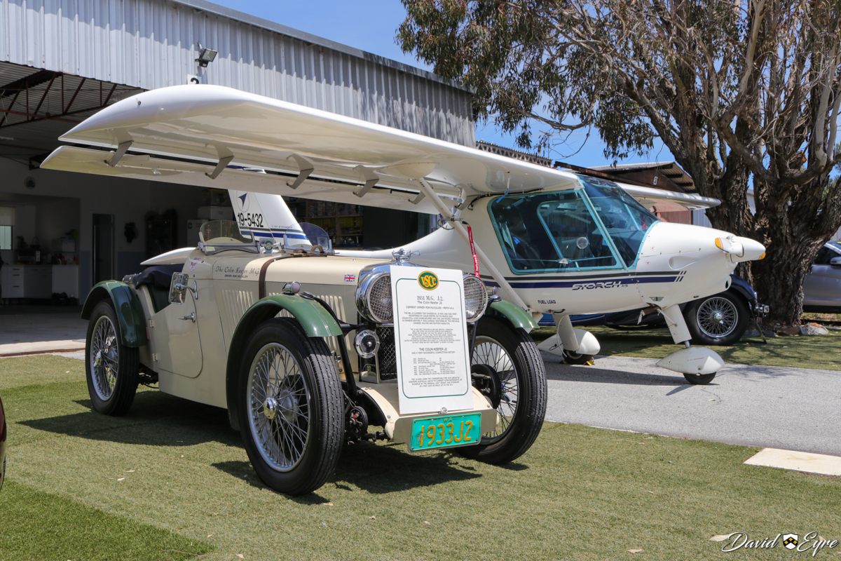 A 1934 MG J2 vintage car next to 19-5432 Fly Synthesis Storch HSJ (MSN 357) (built in 2008) at the Sport Aircraft Builders Club (SABC) Annual Fly-In, Serpentine Airfield - 5 November 2017. Photo © David Eyre.