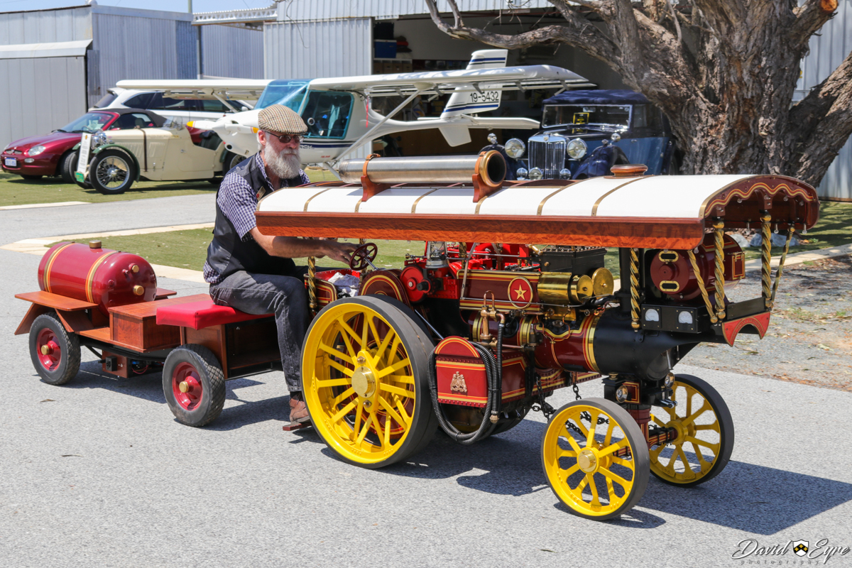 Miniature steam traction engine, at the Sport Aircraft Builders Club (SABC) Annual Fly-In, Serpentine Airfield - 5 November 2017. Photo © David Eyre In the background are a couple of vintage MG cars and 19-5432 Fly Synthesis Storch HSJ (MSN 357).