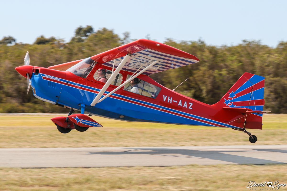 VH-AAZ American Champion 8KCAB Super Decathlon (MSN 752-95) owned by Inverted Pty Ltd, at the Sport Aircraft Builders Club (SABC) Annual Fly-In, Serpentine Airfield - 5 November 2017. Photo © David Eyre. Flown by Scott Morgan. Built in 1995.