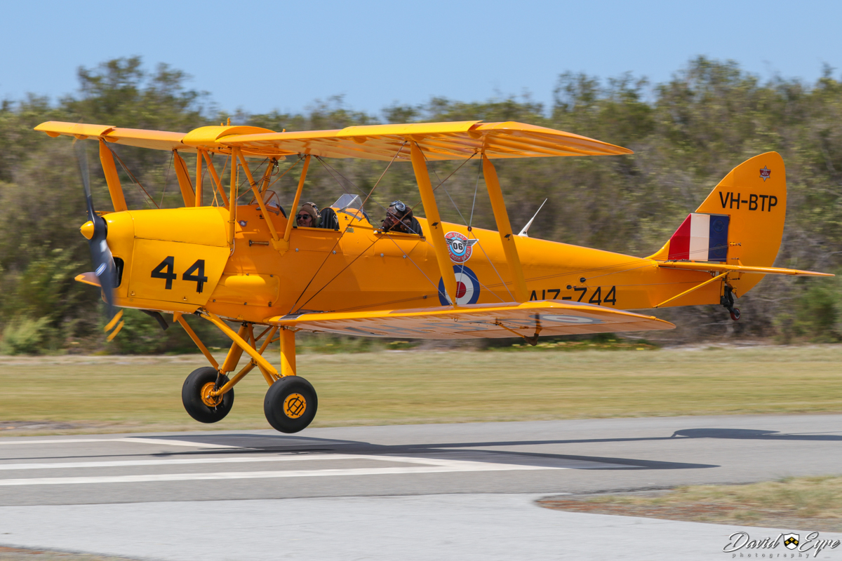 VH-BTP / A17-744 De Havilland DH-82A Tiger Moth (MSN DHA1075/T315) owned by Clark Rees, at the Sport Aircraft Builders Club (SABC) Annual Fly-In, Serpentine Airfield - 5 November 2017. Photo © David Eyre. Built in 1944 by De Havilland Aircraft, at Bankstown, NSW. To RAAF in 1944 with serial A17-744. Sold in 1955 and registered as VH-BTP. It was later based at Maylands Aerodrome in Perth. Crashed in 1962 at Carnamah, WA and the registration was cancelled in 1963. Following a rebuild, it was registered again in 1988 as VH-BTP.