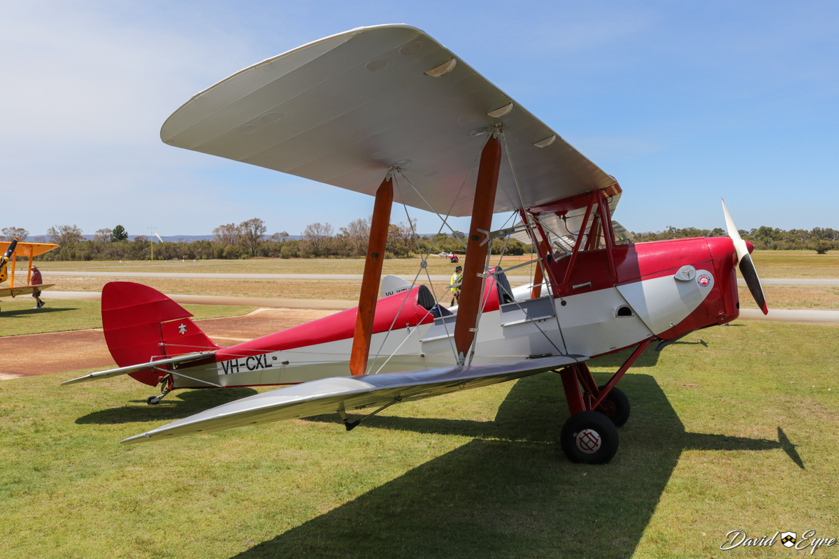 VH-CXL De Havilland DH-82A Tiger Moth (MSN LES8) owned by Lydia Mitton, at Sport Aircraft Builders Club (SABC) Annual Fly-In, Serpentine Airfield - 5 November 2017. Photo © David Eyre. Built in 1961, as one of 11 Tiger Moths assembled by Lawrence Engineering and Sales Pty Ltd at Camden, NSW, during 1959 to 1961, using a collection of British-built RAF Tiger Moth parts acquired from disposals sales. VH-CXL was registered on 8 March 1961, and was acquired by its current owner in 2000.