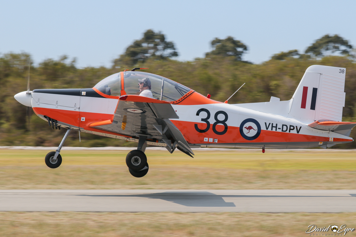 """VH-DPV / 38 NZAI CT/4A Airtrainer (MSN 038) owned by Joshua Spano, at the Sport Aircraft Builders Club (SABC) Annual Fly-In, Serpentine Airfield - 5 November 2017. Photo © David Eyre. In the 1960s, Australia's Victa (famous for its lawn mowers) produced the Victa Airtourer, and Victa Aircruiser. Due to lack of Australian Government support, Victa had to sell the manufacturing rights to AESL (later NZAI) in New Zealand, who developed the CT/4 Airtrainer in 1972. Ironically, in 1975, the RAAF ordered 51 CT/4A aircraft from NZAI as primary trainer aircraft. This particular example was delivered to the RAAF on 4 June 1975, using ferry registration ZK-EAA. It was allocated RAAF serial A19-038. Following RAAF service, it was sold on 21 June 1993 and registered VH-DPV. It has retained its RAAF """"Fanta can"""" paint scheme, which also led to the type being nicknamed the """"Plastic Parrot""""."""