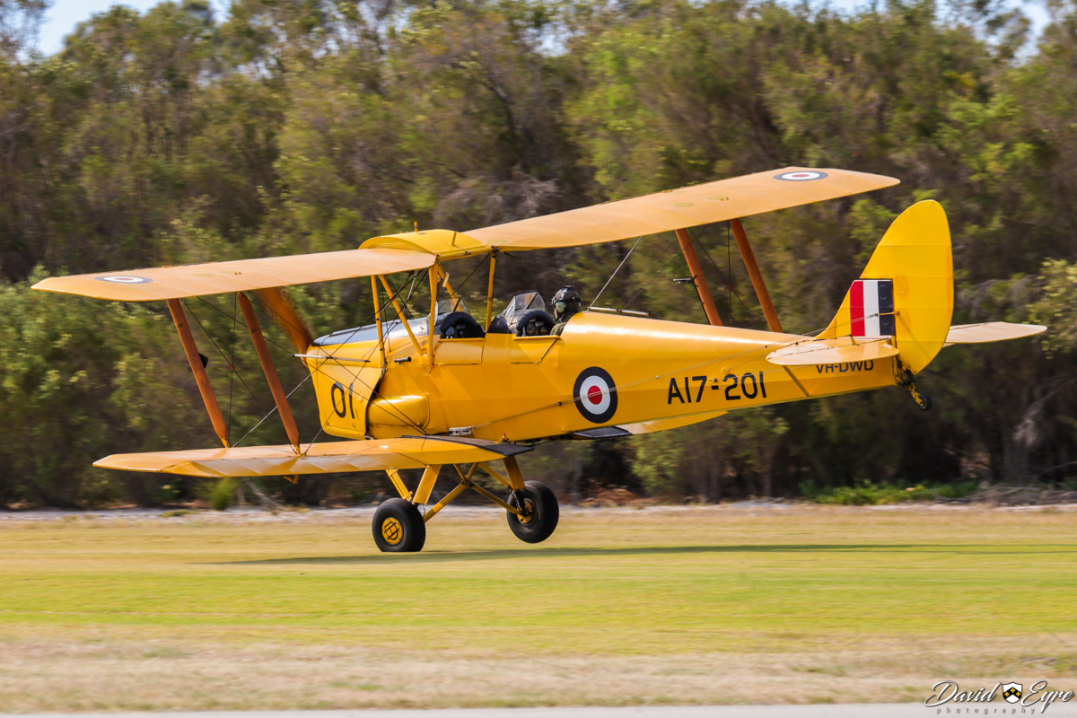 VH-DWD/A17-201 De Havilland DH-82A Tiger Moth (MSN DHA202) owned and flown by Bert Filippi, at the Sport Aircraft Builders Club (SABC) Annual Fly-In, Serpentine Airfield - 5 November 2017. Photo © David Eyre. Built in 1940 by De Havilland Aircraft at Bankstown, NSW. Served RAAF as A17-201. Registered 29.4.1946 as VH-AMG. Withdrawn from use in 1965 due to Department of Civil Aviation policy. Rebuilt and registered in 2000 as VH-DWD.