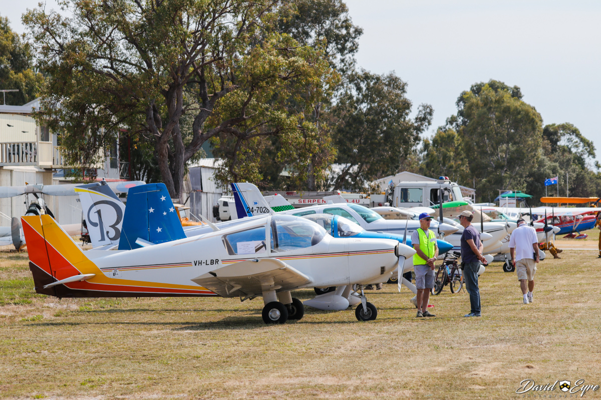 Aircraft lined up at Sport Aircraft Builders Club (SABC) Annual Fly-In, Serpentine Airfield - 5 November 2017. Nearest aircraft is VH-LBR Heintz CH300 Tri-Z (MSN W114) owned by Don McCall and Ian Hislop, Built in 1984.