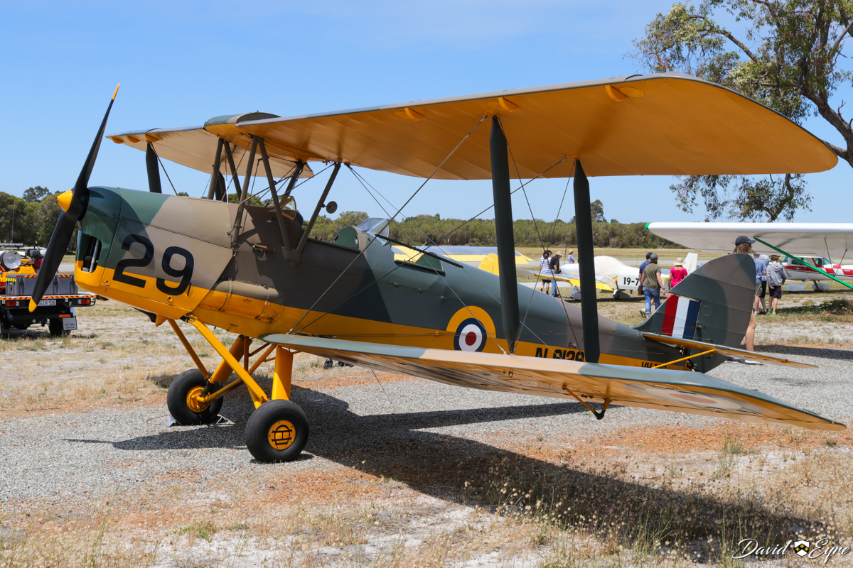 VH-NIG/N9129/29 De Havilland DH-82A Tiger Moth (MSN 82248) of Nigel Emmans at at Sport Aircraft Builders Club (SABC) Annual Fly-In, Serpentine Airfield - 5 November 2017. Photo © David Eyre Based at Serpentine. Painted in RAF camouflage. Built in 1939. One of 100 Tiger Moths imported to Australia from the UK (in addition to licensed production at Bankstown, NSW). Served with RAAF, but retained RAF (UK) serial N9129. Served with 9 Elementary Flying Training School at Cunderdin, WA 10/04/1943 to 19/06/1943. Registered VH-BJV 24 November 1947 to George W K Baston, Quobba Station, Carnarvon, WA. Passed through a few owners then was re-registered 15 June 1959 as VH-DAL to Doggett Aviation & Engineering Co, Maylands Aerodrome, Perth, Western Australia. Crashed and cancelled from register 28 June 1965. Restored and registered VH-NIG from 12 April 1994 to Nigel Emmans.