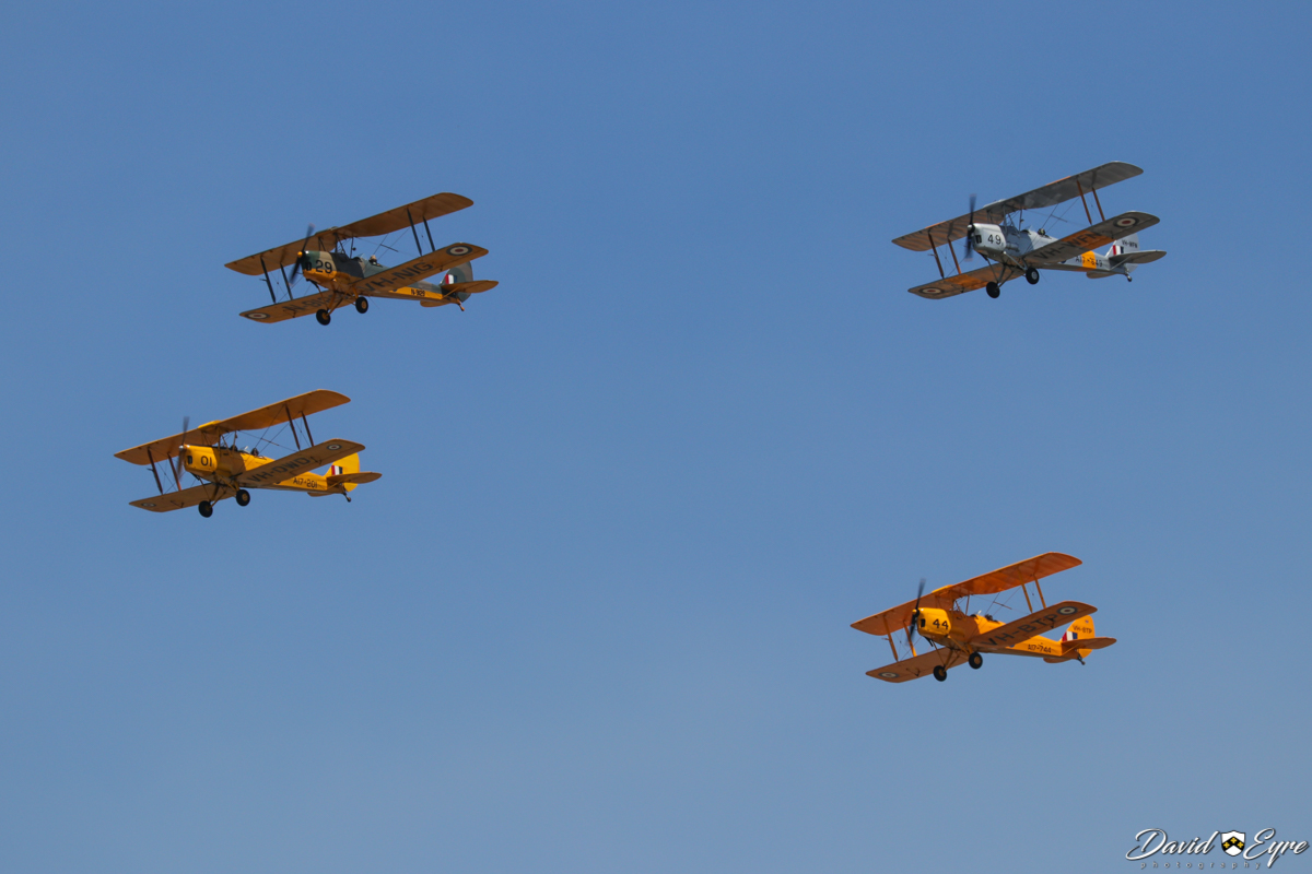 De Havilland DH-82A Tiger Moth formation at the Sport Aircraft Builders Club (SABC) Annual Fly-In, Serpentine Airfield - 5 November 2017. Photo © David Eyre. VH-DWD / A17-201 (MSN DHA202) owned by Bert Filippi. VH-NIG / N9129 (MSN 82248) owned by Nigel Emmans. VH-WFN / A17-649 (MSN DHA799) owned by Bill Dearle. VH-BTP / A17-744 (MSN DHA1075/T315) owned by Clark Rees.